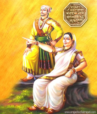 Rajmata Jijabai with Chhatrapati Shivaji Maharaj