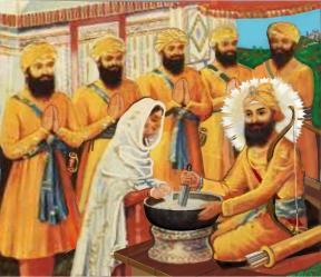 The Panj pyare with Guru Gobind Singh