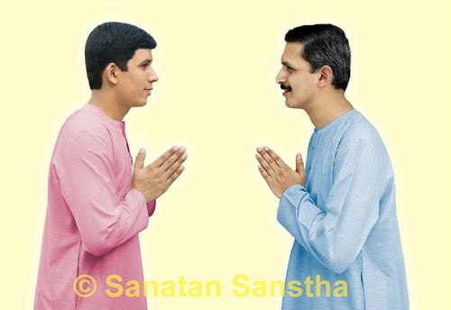 Doing Namaskar to each other