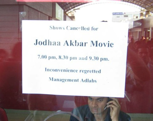 Show-cancelled board at Adlabs ticket counter in Pune