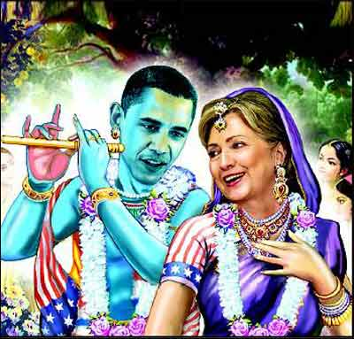 Hillary and Obama depicted as Radha-Krushna