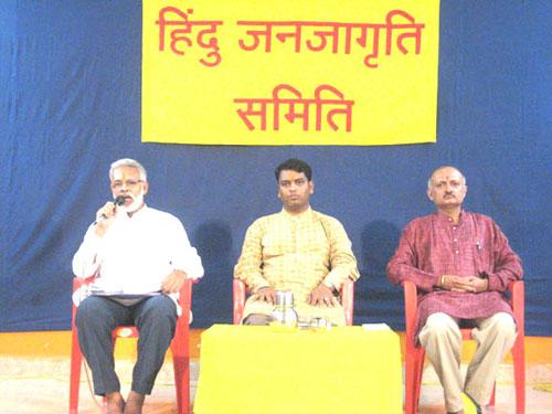 From left Dharmashakti Sena chief Shri. Panvalkar, HJS's Spokesperson Shri. Shinde and Dr. Solanki