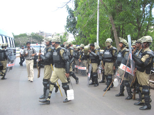 Armed action force jawans on street for intimidating the agitation