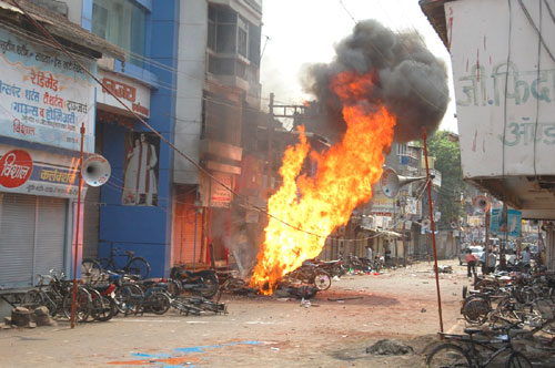 Such fires were set up at many places in Dhule