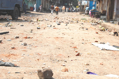 Road after stone throwing incidents