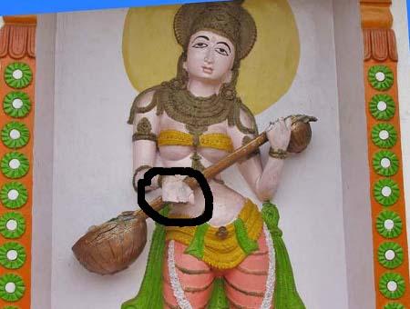 Damaged Idol of deity Rambha in Sree Santeri Temple