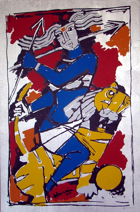 Denigratory picture of Durga Devi by Anti-Hindu painter Husain on sale at Marvel Art Gallery