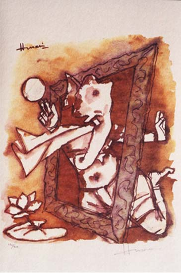 Denigratory picture of Ganapati by Anti-Hindu painter M F Husain on sale at Marvel Art Gallery