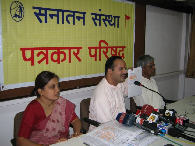 From Left : Dr. (Miss) Maya Patil, Mr. Abhay Vartak and Mr. Sawant addressing in Press Conference