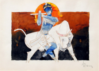 Denigratory picture of Lord Krushna by M F Husain