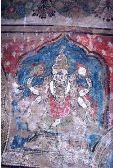Mural painting of Lord Narasimha effaced and defaced