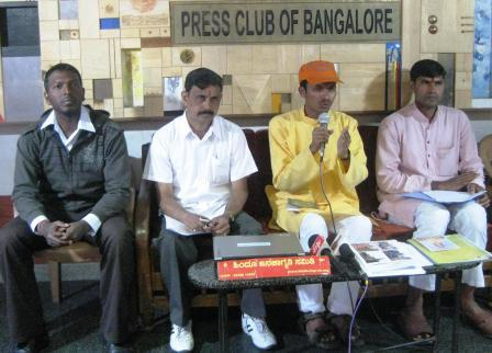 Mr. Mohan Gowda of HJS addressing in the Press Conference