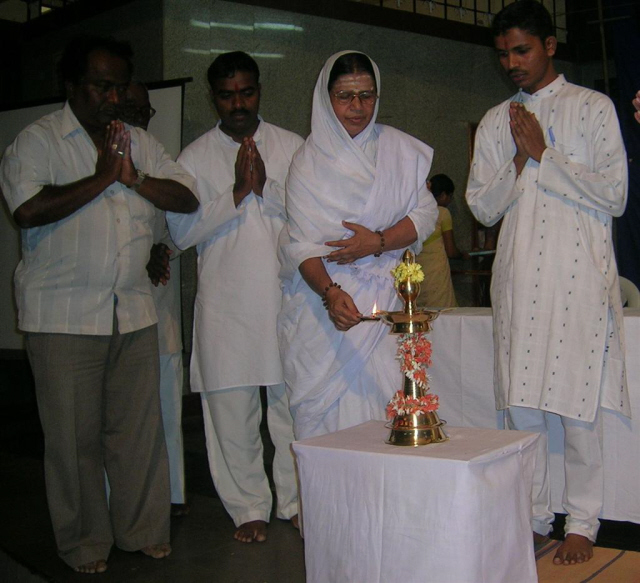 Inauguration of the program by lighting a Samai by Pujya Neelamma Mata
