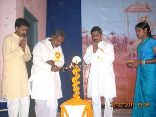 From Left : Mr. Gururaj Prabhu, Mr. Jawahar Jha and Nilesh Singbal while lighting the Holy Lamp