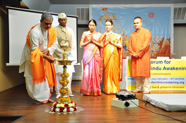 Inauguration of the Hinduism Summit by lighting the auspicious oil lamp