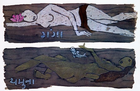 Nude paintings of Goddess Ganga and Yamuna by Anti-Hindu M F            Husain