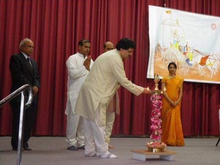 Mr. Atul Dighe while lighting the Holy Lamp