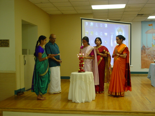 Inauguration of Hinduism Summit by lighting a Samai (an oil lamp)