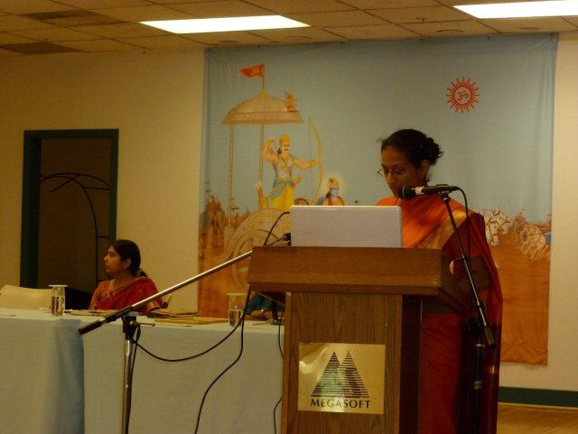 Ms. Maya Jairam, a devout Hindu addressing in the Hinduism Summit