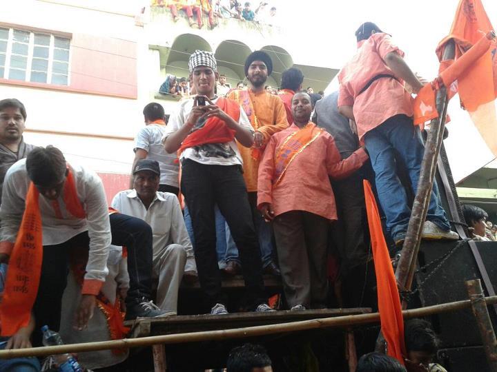 Bhagat Singh Kranti Sena president Tejinder Pal Singh Bagga in the Shobhayatra