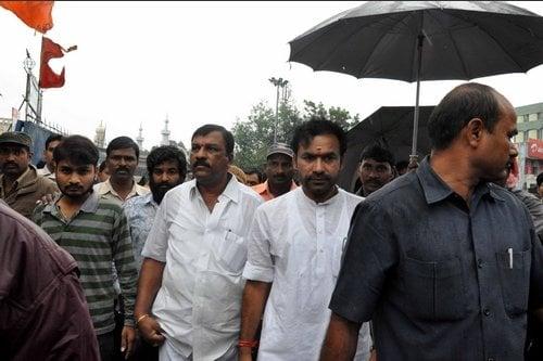 BJP MLA Mr. Kishan Reddy arrive at Bhagyalakshmi Mandir