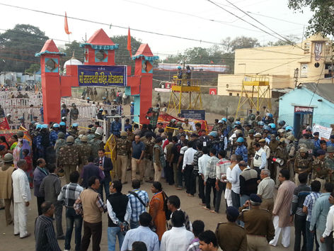 Heavy police presence can be seen at Bhojshala