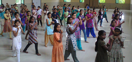 Girls during a Self-defense class