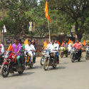 Two-wheelers procession on the occasion of Karnataka State-level Hindu Convention.