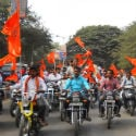Bijapur : Police canecharge disciplined 2-wheeler procession arranged for propagation of 'Dharmasabha'