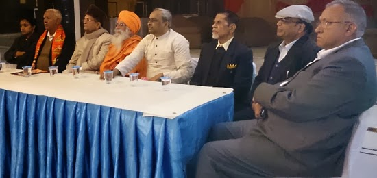 Dignitaries addressing the Press conference.
