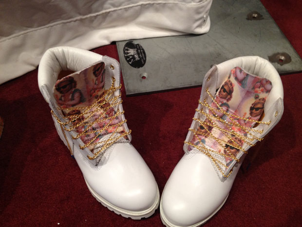 All white outfit with timbs