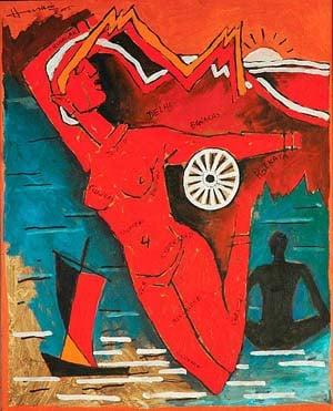 Nude Bharatmata Painting