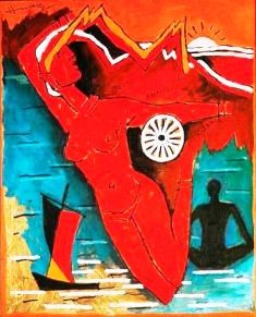 Naked Bharatmata - Hussain has shown a naked woman with names of states written on different parts of her body. He has used the Ashok Chakra of the Tri-colour in the painting. By doing this he has violated the law & hurt the National Pride of Indians. Both these things should be of grave concern to every Indian irrespective of his religion.