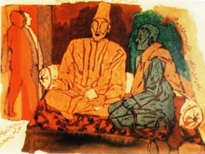 Muslim poets Faiz are Galib are shown well-clothed