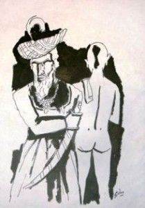Fully clad Muslim King and a naked Hindu Brahmin. The above painting clearly indicates Hussain's tendency to paint a Hindu in the nude and thus openly expose his hatred for Hindus.