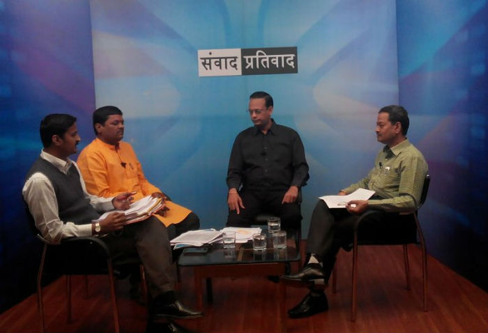 Discussion on local channel, 'B NEWS' in Kolhapur regarding huge protest march organised against PMDS