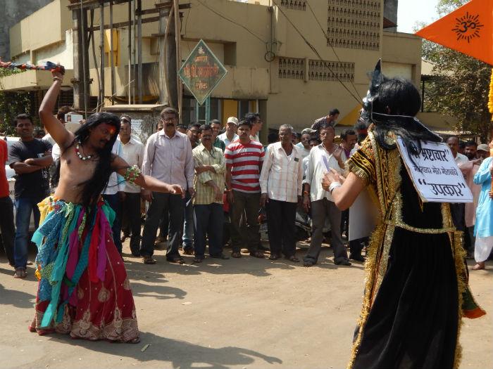 Kadaklakshmi killing the devil in the form of corruption were displayed in the procession