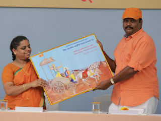 Jayram_Pandiyan_satkar_320 Felicitation of devout Hindus from Tamil Nadu for actively protecting Dharma