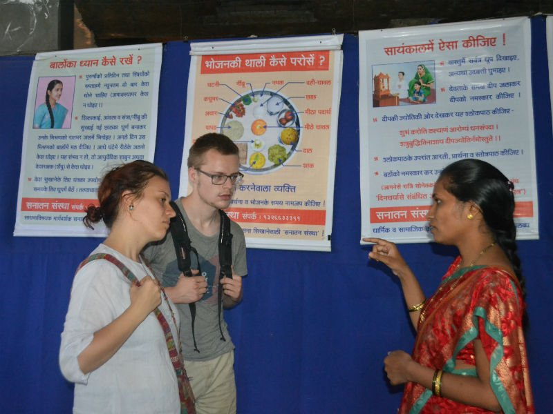 Foreigners being given the information by Dr. (Sau) Sadhana Jarali
